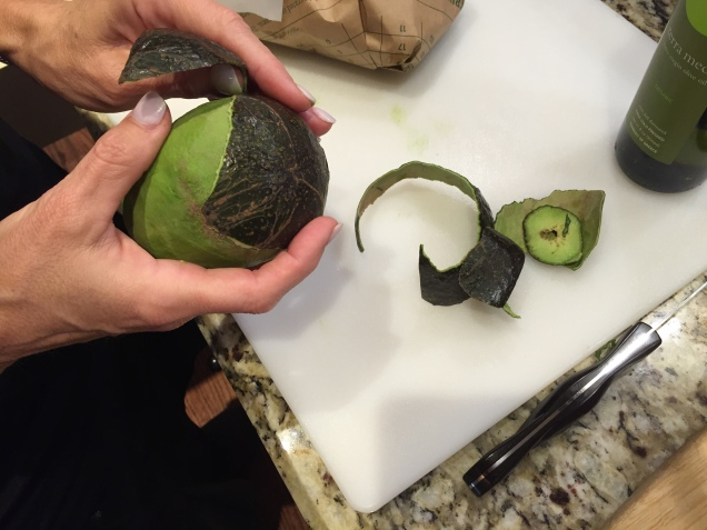 It's a much prettier presentation if you PEEL the avocado instead of simply scooping out.